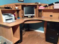 Bureau huche credence filiere classeur Desk filing cabinet hutch