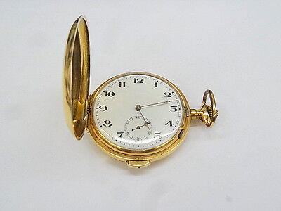 Sprungdeckel-Taschenuhr in 585er Gold mit Viertelstunden Repetitionswerk um 1900