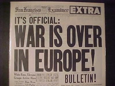 Vintage Newspaper Headline World War 2 Nazi Germany Surrendered Europe Wwii Over