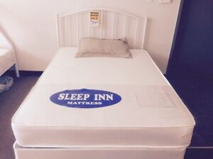 single bed complete mattress box frame and white headboard $299