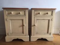 Yesterdays Pine Solid Wood Cream Painted Bedside Pot Cupboards and Chest of Drawers