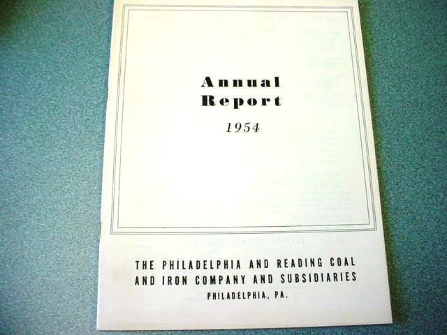1954 Philadelphia & Reading Coal Corp. Annual Report (Nice Old Anthracite Item)