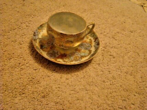 Vintage Cup & Saucer Fancy Gold Trimmed Cup Footed Thin See Through Excellent
