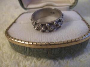 UNUSUAL OLD VINTAGE STUDDED STERLING SILVER PINKIE RING