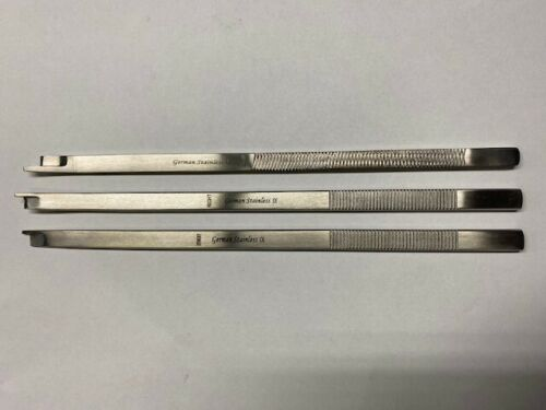 """3 Pcs NEIVERT Anderson  Osteotome 8"""" with Single Guard (Straight, Left, Right )"""