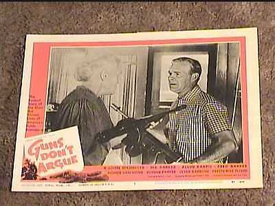 GUNS DONT ARGUE 1957 LOBBY CARD #5 TOMMY GUN CRIME