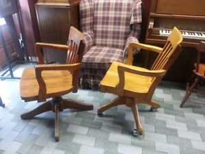 Solid wood vintage office chairs