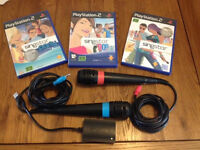 Playstation 2 Singstar Microphones and 3 games