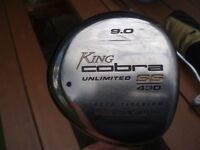 GOLF CLUB -COBRA DRIVER WITH COVER - KING COBRA SS 430 9.0 DEGREE GRAPHITE SHAFT WITH COVER