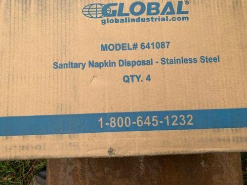 Global Industrial Sanitary Napkin Disposal Bin - SS, 641087 - Case of Four, NIB