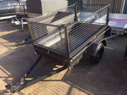 Brand New 7X4 Heavy Duty Box Trailer Removable 4 Peice Cage 600mm