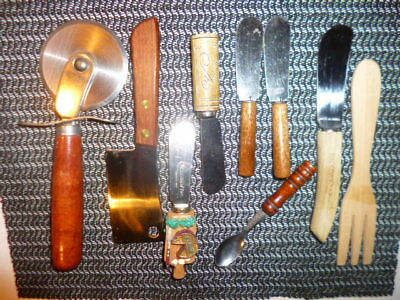 Wood Handle Appetizer/Hors d'oeuvres Cheese/Canape Spreaders/Knives,Spoon,Cutter