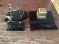 Beautiful antique desk set with ink well letter rack candle holder