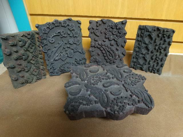 5 VINTAGE - INDIA HAND WOOD CARVED TEXTILE PRINTING BLOCKS - STAMP - FABRIC