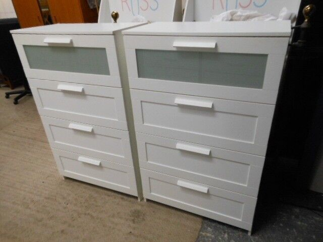 2 Identical Large White 4 Drawer Chest Of Drawers With A Glass Front Can Deliver