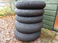 Part worn motorcycle tyres. 190/55zr17..120/70zr17.