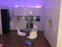 Modern Glass Chrome Dining Table and White Chairs