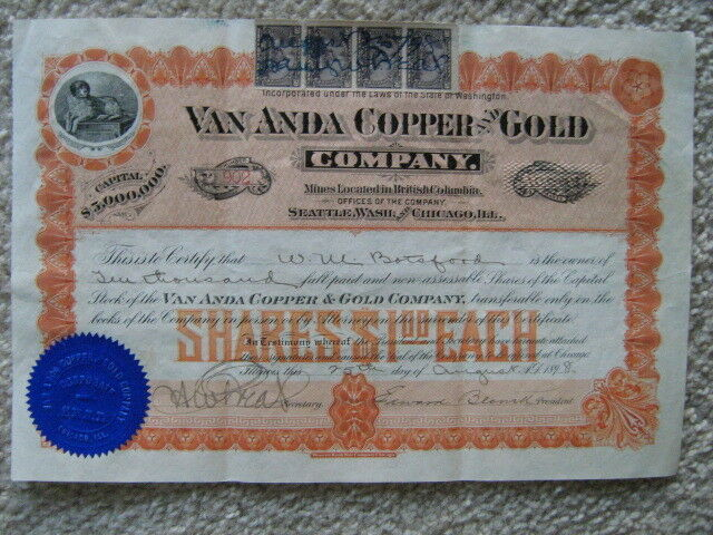 1898 VAN ANDA COPPER & GOLD STOCK CERTIFICATE