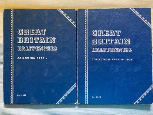 Lot x2 Great Britain Half Pennies 1902-1936 & 1937- Whitman Album Sets World