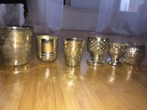 Wedding Mercury glass votive candle holders and vases