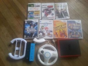 WII console, 7 games, controllers & accessories