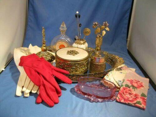 20 Piece Vintage Vanity Set - Mirror Tray -2 Perfume Bottle- Powder Box-gloves