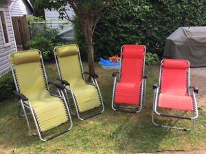 Ensemble de 4 chaises longues pliantes