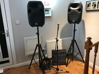 """PA system with 10 channel powered Yamaha mixer + 12"""" speakers, mic stand, cables and speaker poles"""