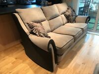 3 Piece Suite, Light tan/dark brown, 18 months old, very good condition, 3 seater/2 chairs.