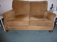 2 seat sofa and 2 matching chairs with brass legs north london