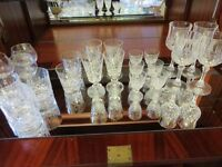 Collection of crystal cut glasses.