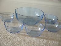 1 Large & 5 small pale blue glass dishes dessert set fruit jelly bowls £2 -Southbourne