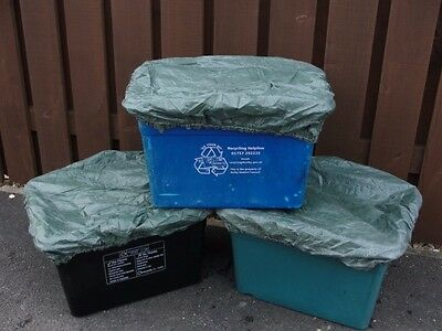 3x Recycling Box/Bin Cover/Lid - Elasticated, Tie on, Wind/Weatherproof, Recycle