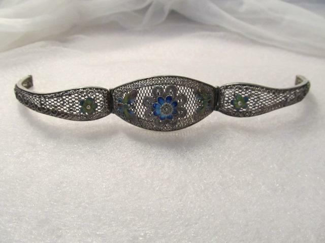 Estate Antique Chinese Sterling Silver Filigree Enamel Butterfly Flower Bracelet