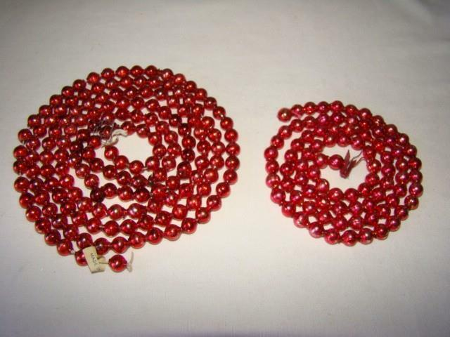 2 Vintage CHRISTMAS Red Feather Tree Mercury Glass Bead GARLAND, #30