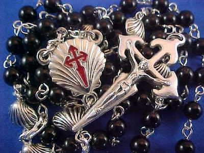 ST JAMES CRUSADER Santiago de Compostela Rosary Saint Shell Custom Handmade