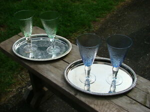 Two SP Serving Trays with Glasses $30 each set