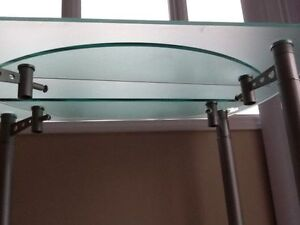 "GLASS ""ROUND"" TABLE 48"" diameter, and 30"" high, heavy duty,- $40"