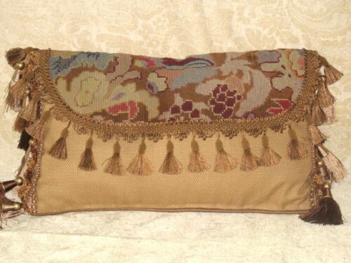 19TH CENTURY ANTIQUE NEEDLEPOINT ENVELOPE LUMBAR PILLOW