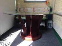 "54"" Cindy Crawford glass top table with 4 chairs"