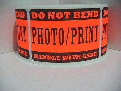 50 Do Not Bend Photoprint Handle W Care Fluor Red 2x3 Sticker Cutfold Labels