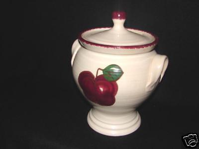 North Carolina Pottery RED Apple design Bean Pot / lid ~ NC Pottery by Nickels  Red Apple Design