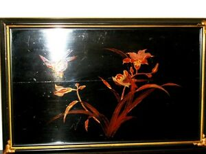 old CHINESE lacquer WALL ART SET x4 BIRDS BAMBOO IRIS DOGWOOD Cambridge Kitchener Area image 3