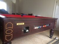 AScot solid oak Pool Table with 2 sets balls and 3 cues