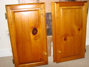 Price DROP!!--2 PAIRS SOLID PINE cabinet doors with  brass
