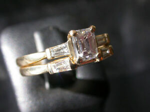 14k Gold Emerald Cut Diamond Ring Set
