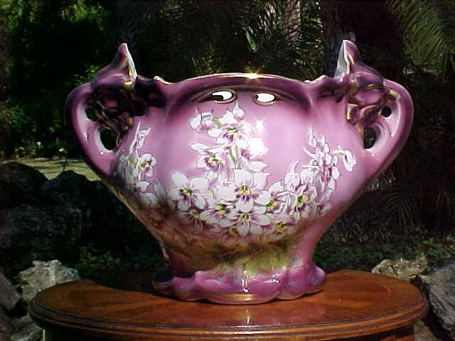 Planter Antique French Majolica Purple White & Yellow Large Jardiniere