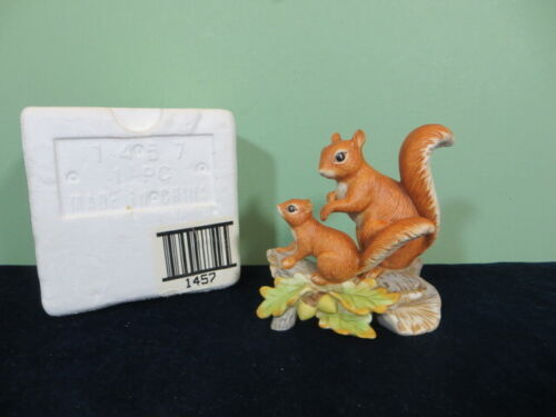 "Vintage Homco 4 1/2"" Figurine Mother & Baby Squirrel on Log # 1457"