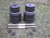 Dumbbell barbell Weights and Bars 72.2 lb's 32.8 kg approx