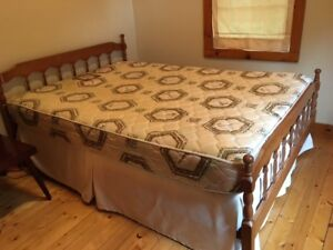 Clean double mattress, box spring, headboard and fotboard